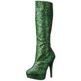 Groen Glitter 13 cm LOLITA-300G Plateau Dames Laarzen