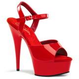 Rood 15 cm Pleaser DELIGHT-609 High Heels Plateauschoenen