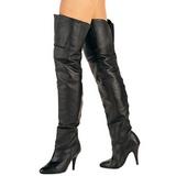 Zwart Leder 10,5 cm LEGEND-8868 Leren overknee laarzen van pleaser