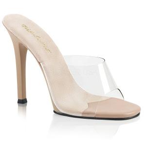 Beige 11,5 cm FABULICIOUS GALA-01 dames slippers met hak