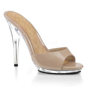 Beige 13 cm Fabulicious POISE-501 dames slippers met hak