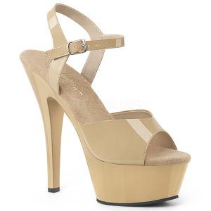 Beige 15 cm Pleaser KISS-209 sandalen met naaldhak
