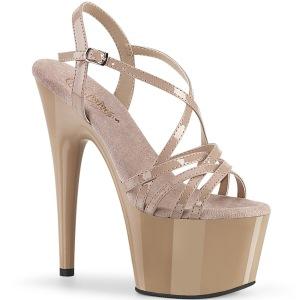 Beige 18 cm ADORE-713 pleaser naaldhak sandalen