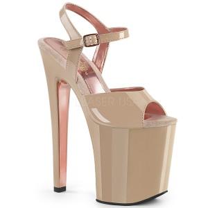 Beige 20 cm XTREME-809TT pleaser sandals with gold soles