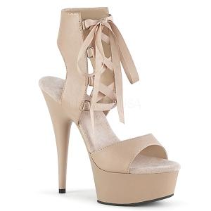 Beige Kunstleer 15 cm DELIGHT-600-14 pleaser sandalen met plateau