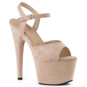 Beige Kunstleer 18 cm ADORE-709FS sandalen met naaldhak