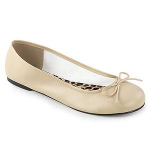 Beige Kunstleer ANNA-01 grote maten ballerina´s schoenen