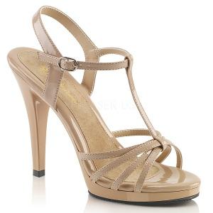Beige Lak 12 cm FLAIR-420 Dames Sandalen met Hak