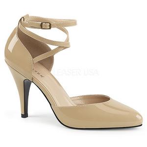 Beige Lakleer 10 cm DREAM-408 grote maten pumps schoenen