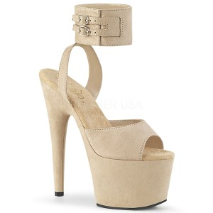 Beige Leatherette 18 cm ADORE-791FS pleaser high heels with ankle straps