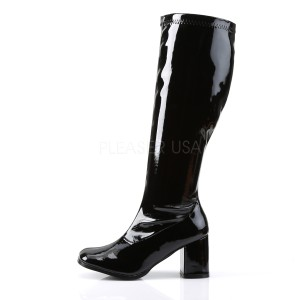 Black Patent 7,5 cm GOGO-300WC knee high womens boots with wide calf