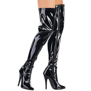 Black Shiny 15 cm DOMINA-3000 High Heeled Overknee Boots