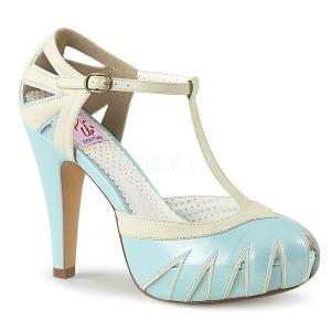 Blauw 11,5 cm BETTIE-25 Pinup pumps schoenen met verborgen plateauzool