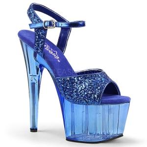 Blauw 18 cm ADORE-710GT glitter plateau schoenen dames met hak