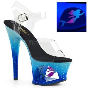 Blauw 18 cm MOON-708MER Neon plateau schoenen dames met hak