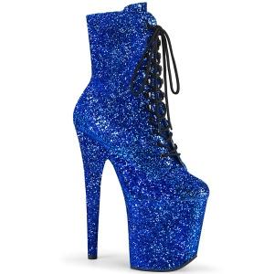 Blauw 20 cm FLAMINGO-1020GWR glitter exotic hakken - pole dance enkellaarzen