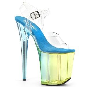 Blauw 20 cm FLAMINGO-808MCT paaldans sandalen met hakken