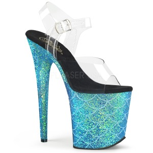 Blauw 20 cm FLAMINGO-808MSLG glitter plateau sandalen met hak