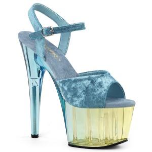 Blauw Fluweel 18 cm ADORE-709MCT paaldans sandalen met hakken