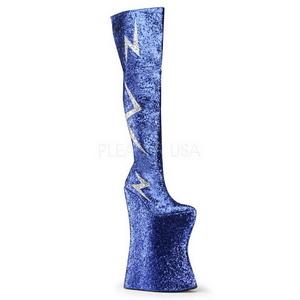 Blauw Glitter 34 cm VIVACIOUS-3016 Overknee Laarzen Drag Queen