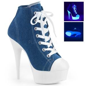 Blauw Neon 15 cm DELIGHT-600SK-02 canvas sneakers met hoge hakken
