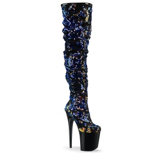 Blauw Pailletten 20 cm FLAMINGO-3004 pole dance overknee laarzen met hak