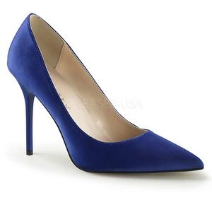 Blauw Satijn 10 cm CLASSIQUE-20 naaldhak pumps met puntneus