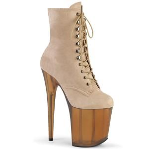 Brown Faux Suede 20 cm FLAMINGO-1020FST Exotic pole dance ankle boots