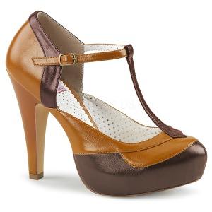 Bruin 11,5 cm retro vintage BETTIE-29 Pinup pumps schoenen met verborgen plateauzool