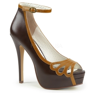 Bruin Kunstleer 13,5 cm BELLA-31 pumps schoenen open teen