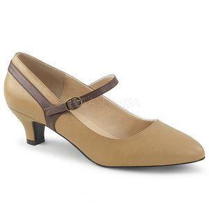 Bruin Kunstleer 5 cm FAB-425 grote maten pumps schoenen