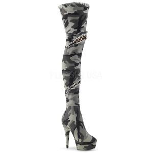 Camoflash canvas 15 cm DELIGHT-3005 overknee laarzen met hoge hakken