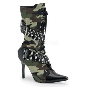 Camouflage 9,5 cm MILITANT-128 Dames Enkellaarzen Plat
