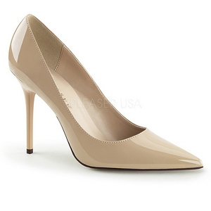 Cream Varnished 10 cm CLASSIQUE-20 pointed toe stiletto pumps