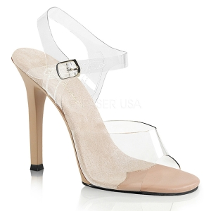 Creme 11,5 cm FABULICIOUS GALA-08 Hoge avond sandalen met hak