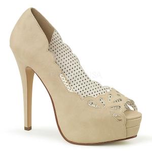 Creme Kunstleer 13,5 cm BELLA-30 pumps schoenen open teen