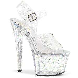 Doorzichtig 18 cm Pleaser SKY-308MMG glitter schoenen met hakken