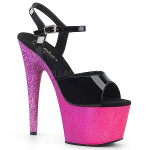 Fuchsia 18 cm ADORE-709OMBRE glitter plateau sandalen met hak