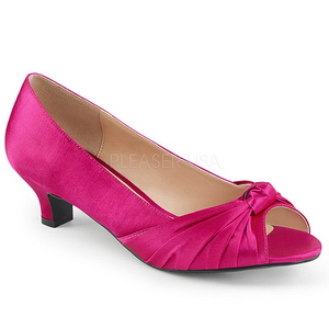Fuchsia Satijn 5 cm FAB-422 grote maten pumps schoenen