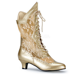 Gold Matte 5 cm FUNTASMA DAME-115 Retro Ankle Calf Boots