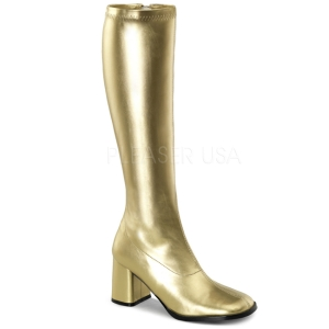 Gold Pu 8,5 cm Funtasma GOGO-300 Women Knee Boots