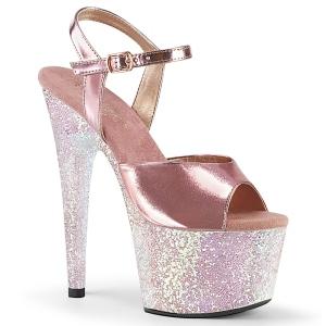 Goud 18 cm ADORE-709LG glitter plateau schoenen met hakken