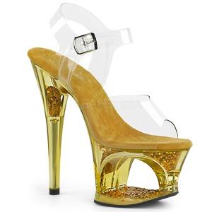 Goud 18 cm MOON-708GFT glitter plateau sandalen met hak