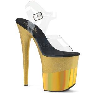 Goud 20 cm FLAMINGO-808-2HGM glitter plateau sandalen met hak