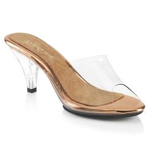 Goud 8 cm BELLE-301 dames slippers met hak