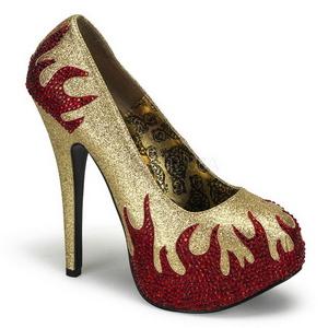 Goud Glinsterende Steentjes 14,5 cm Burlesque TEEZE-27 damesschoenen met hak