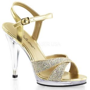 Goud Glitter 12 cm FLAIR-419G Dames Sandalen met Hak