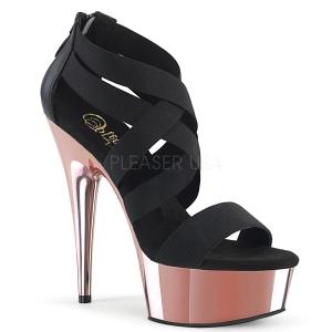 Goud chroom plateau 15 cm DELIGHT-669 pleaser schoenen met hak