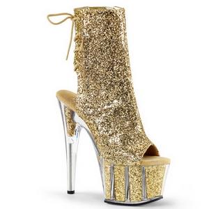 Goud glitter 18 cm ADORE-1018G dames enkellaarsjes met plateauzool