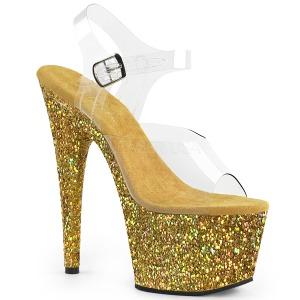 Goud glitter 18 cm Pleaser ADORE-708LG paaldans schoenen met hoge hakken